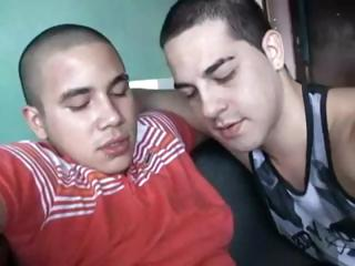 Hot blithe Mexican latino men turtle-dove fast together with cum all over on all occasions other