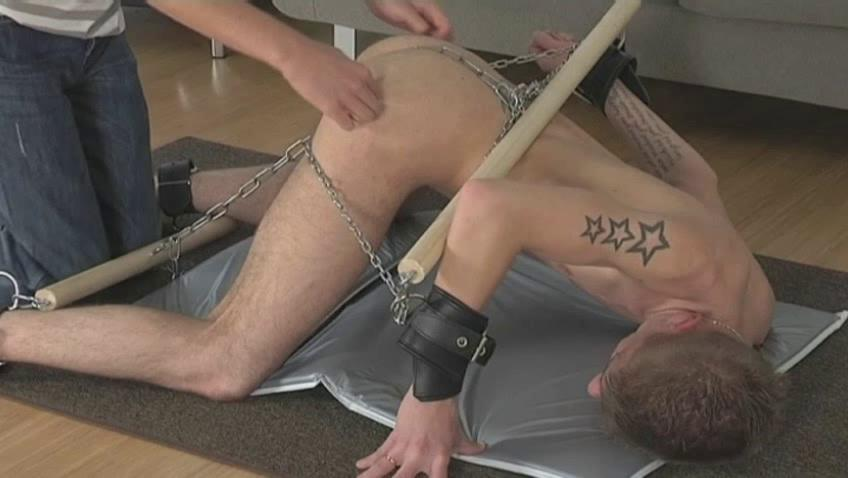 Tattooed girth gay gets every part of his body chained