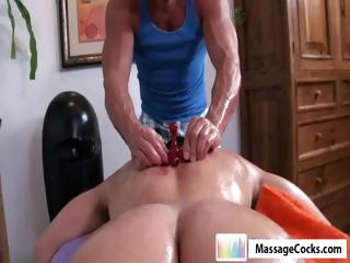 Studly masseuse gives delighted boy Dylan a deep massage with toys