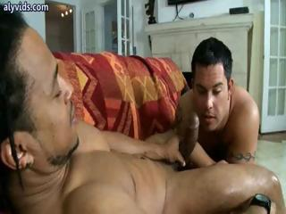 Down in the mouth boy tasting a massive cock