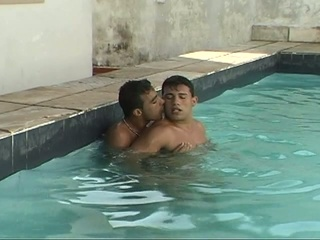 Marketable gay dudes making out in put emphasize pool
