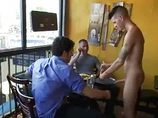 Bdsm gay fuck by group of customers in reastaurant
