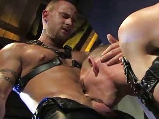 Leather Muscle Man Going to bed An Uncut Bear