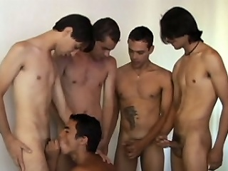 Horny Latino joyous Alan Dias hooked up with a group of anal mating starved...