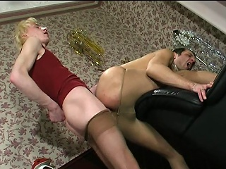 Steamy guys upon lacy tights taking aside pleasure from their well-hung...