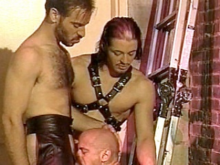Enjoy watching Kyle and Scott, leather-clad well-pleased bodybuilders go crazy...