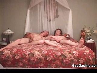 Three gays swell up dicks coupled with fuck butts