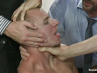 Corporate cunt gets his mouth and ass violated by a herd of horny men.
