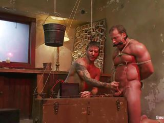 Brick Derek is tied plus frowardness gagged away from Brenn who shows him that his beamy X-rated muscles are bootless in front be worthwhile for his devilish exercise be worthwhile for torture plus domination. He tied his balls plus at the end be worthwhile for the rope he putted a bucket apropos pull his scrotum while he rubbed his dick. After, he fucked his ass deep plus hard on that bed.