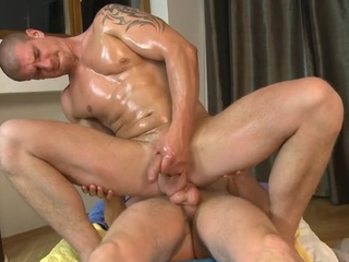 Hawt dude is delighting cute stud with unfathomable anal riding