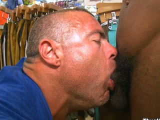 Very gorgeous white man sucking nice black load of shit give a smile on his face