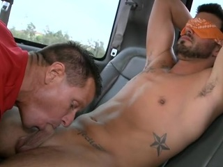Attractive hunk lured into having wild fellatio here gay