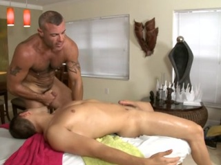 Cute blithe stud is given a bawdy spooning by means of massage